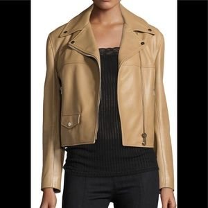 New Helmut Lang Taupe Biker Leather Jacket XS
